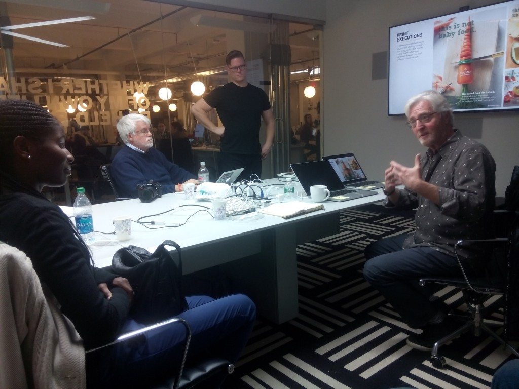 Story Worldwide founder Kirk Cheyfitz (right) discussing the concept of content marketing with the group.